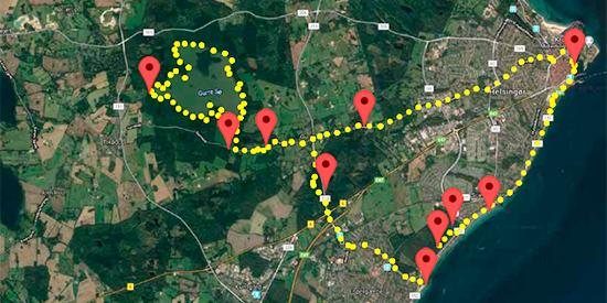 Viser cykelrute mod syd i Helsingør med Lokal forfatterweb