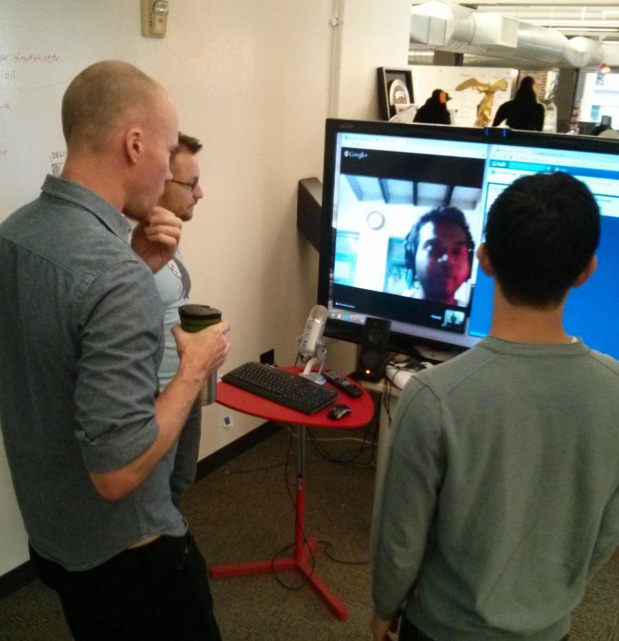 Foto af et videomøde