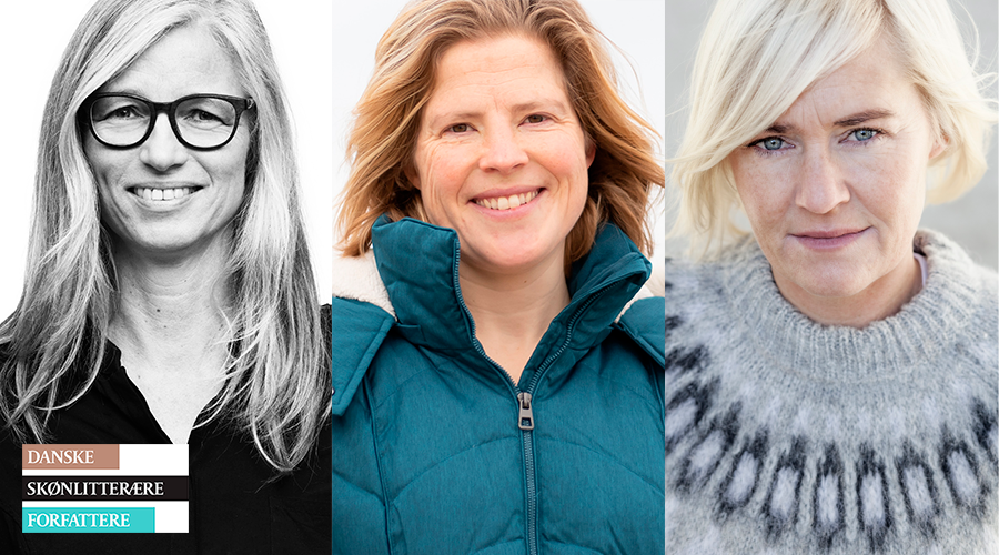 Lokale forfattere Hanne Kvist, Estrid Dyekjær og Stine Askov og får Skulderklaplegatet.