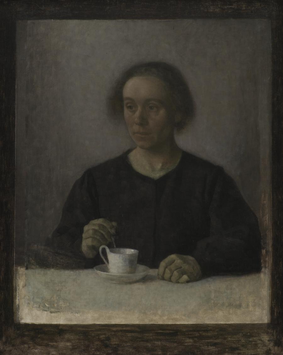 Vilhelm Hammershøis maleri:  Ida Hammershøi med en tekop, 1907
