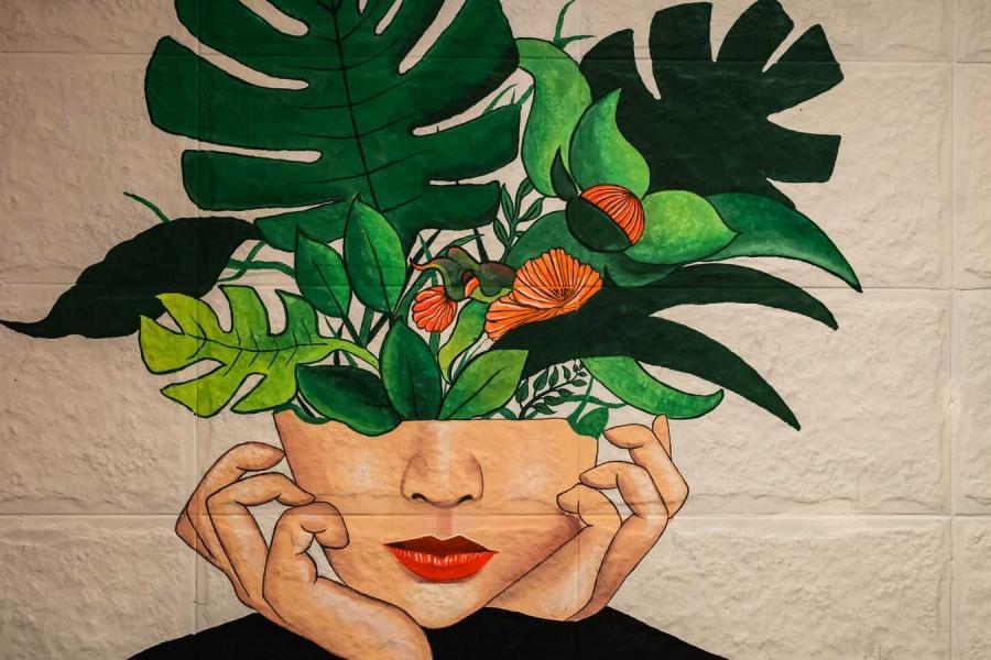 Maleri af kvinde med et halvt hoved, der fungerer som vase for blade og blomster i. Foto fra Unsplash