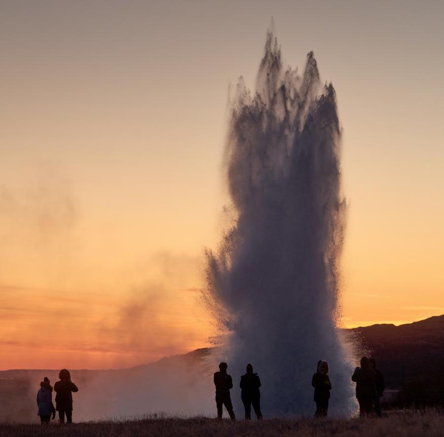Foto af en islandsk gejser